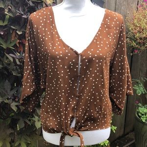 NWT Forever 21 Brown Polka Dot Tie Front Top  D141
